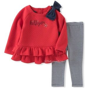 Tommy Hilfiger Matching Sets - Tommy Hilfiger Red Ruffle Tunic & Stripe Leggings